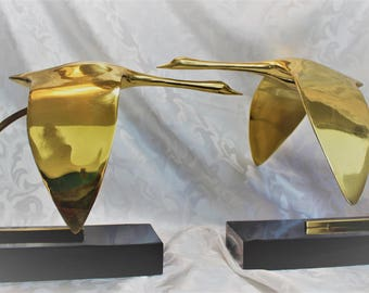 Large Mid Century Brass Flying Geese - Bookends -Rare