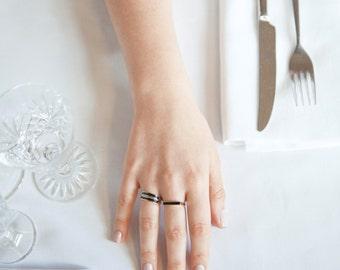 14K Gold Signet Ring - Black Enamel Ring - Black And Gold Ring - Delicate Signet Ring - Thin Hand Crafted Enamel Stripe - Enamel Signet Ring