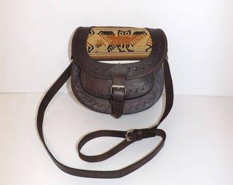 Vintage brown embossed leather saddle shoulder handbag bag with fabric owl bird detail boho