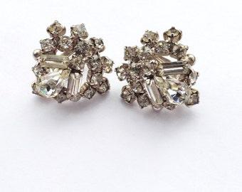 Vintage Rhinestone Cluster Earrings Retro Fashion Mad Men Brides Wedding Jewelry