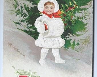Vintage Ellen H Clapsaddle Series 1458 International Art Publishing Co XF  Christmas Postcard Used Paper Ephemera Free Ship