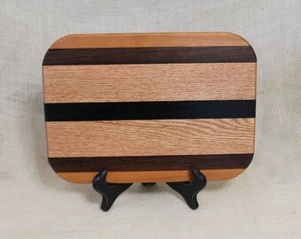 Cheese / Sushi Board Striped with Hardwoods Oak, Cherry and Wenge