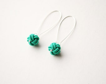 Japanese knot earrings, emerald green knot earrings, turquoise earrings, diamond knot earrings, monkey fist knot earrings, chinese knots