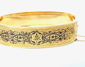 Victorian Bangle Etched Gold Filled Bracelet, Pat 1870, Black Enamel