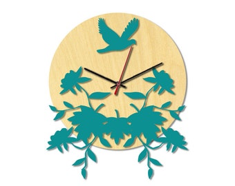 Lasercut clock, wood+acrylic, gift, home decorations, flowers and birds