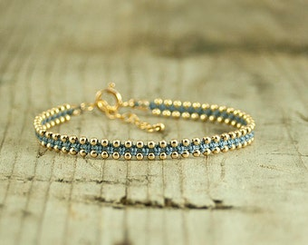 Friendship bracelet light Blue and Gold,dainty bracelet,handmade bracelets,stack bracelets,trendy jewelry,bracelet for her,thin bracelet