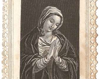 Mother of God Engraving Antique French Paper Lace Holy Prayer Card, Catholic Ephemera, Blessed Mother Virgin Mary