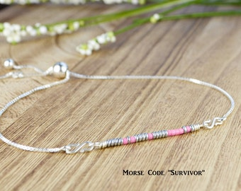 "Morse Code ""Survivor"" Adjustable Sterling Silver Interchangeable Charm/Link Bolo Bracelet- Charm, Bracelet Chain, or Both"