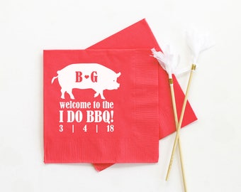 Wedding BBQ Napkins Monogrammed Cocktail Napkins Rehearsal Dinner Barbecue Printed Napkins Personalized Napkins I Do BBQ  Beverage Napkins