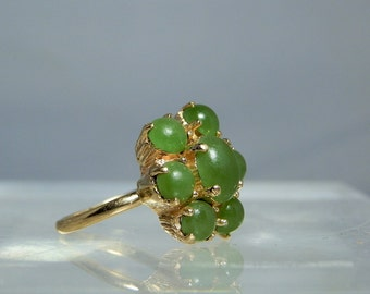 14k Yellow Gold Jade Ring Green Natural Jade Cabochons Size 6 Womens Ring 4.60 grams Vintage Mutlistone Ring DanPickedMinerals