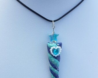 Unicorn Horn Necklace - Aqua