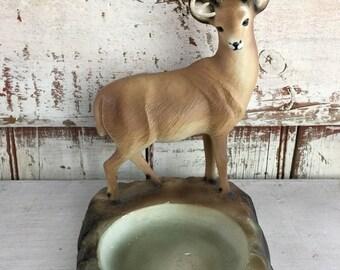 vintage deer ashtray chalk ware souvenir buck ashtray circa 1960s