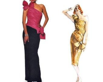 1980s BELLVILLE SASSOON VOGUE 1635 Designer Original Vintage Sewing Pattern Asymmetrical Ruched Bodice Bust 34