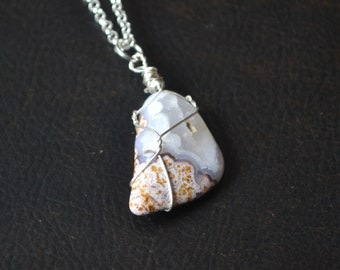 Mens Stone Necklace, Crazy Lace Agate Necklace, Natural, Natural Agate, Agate with Bands, Wire Wrapped, Long Cord Necklace, Crazy Lace