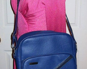 Vintage Blue Striped Carry On Travel Overnight Cross Body Bag Concord by Samsonite Only 22 USD