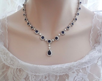 Blue sapphire necklace ~ Cubic Zirconias ~ Brides necklace ~ Something blue ~ High end jewelry ~ Wedding necklace ~ KATE