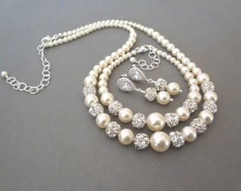Pearl jewelry set - Swarovski pearls and crystals ~ 3 piece set ~ Pearl Bracelet, Earrings,Necklace - Bridal jewelry set ~TOP SELLER~DESTINY