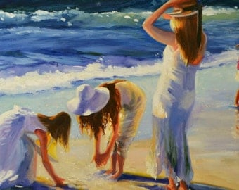Original Oil Painting JOUANT SUR la PLAGE , mother and kids on beach, original art, beach painting , seascape