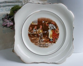 Oliver Twist Collectors Plate, Dickens, Sandland Ware Square Hanley England, Wall Decor