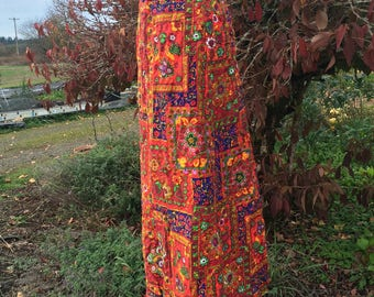 """Vintage Hippie Print High Waisted Wide leg Multicolor Pants S - Quilted Patterned Palazzo Pants - 25.5"""" Waist"""