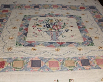 Vintage flower and butterfly embroidered quilt