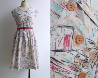 Vintage 80's 'Downtown LA' Novelty Print Summer Cotton Day Dress S or M