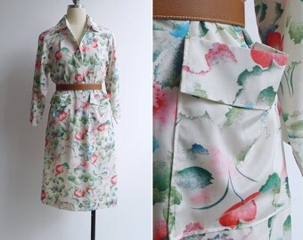 10-25% OFF Code In Shop - Vintage 80's 'Hanae Mori' Watercolor Florals Collared Shirt Dress S M or L
