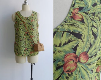 15% SALE (Code In Shop) - Vintage 80's 'Tropical Paradise' Palm Leaf Print Tank Top XS or S