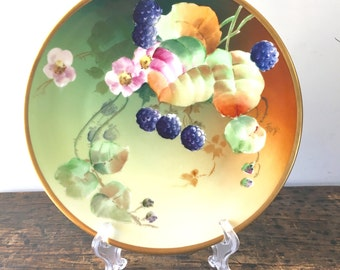 Antique Limoges Plate, M.I. Co Lacroix, Hand Painted, Signed Fox Circa 1890's-1900.