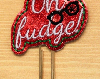 Oh Fudge saying glitter vinyl planner paperclip, bookmark, Christmas word saying on red glitter vinyl, Planner paperclip accessory