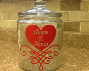 Personalized Valentine candy jar, Personalized Valentine gift, Valentine canister, Valentine gift idea, wedding gift idea,