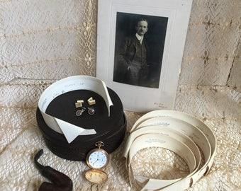 1900s Antique Leather Collar Box  5 Starched Arrow De-luxe Bib Shirt Collars Travel Collar Box Plus 4 Shirt Studs
