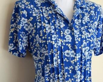 salvation armani vintage dress - blue floral dress - vintage womens dress - button front dress - tie back - vintage size Small