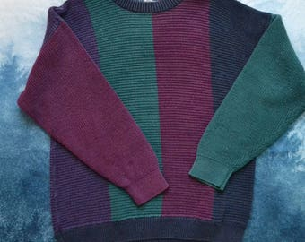 Vintage 80s Striped Color Blocked Tacky Green and Burgundy Dad Knitted Sweater