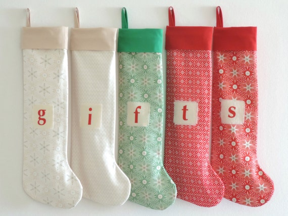 Christmas Stocking Personalized Stocking, Stars Family Stockings, Modern Fur Cuff, Ivory Red Green Boy Girl Holiday Stocking, Little Cuff
