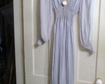 Vintage Blue Silk Chiffon Grecian Smocked Robe Dressing Gown Lingerie