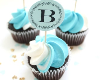 Boy Baby Shower Cupcake Topper | Blue Baby Shower for Baby Boy | Party Decor | It's A Boy | Monogram Baby Shower decor | Cake Topper