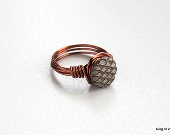 White Button Ring, Pinkie Ring, Copper Button Ring, Wire Wrapped Ring, Button Jewelry, Copper White Ring, Honeycomb Ring, Metal Ring