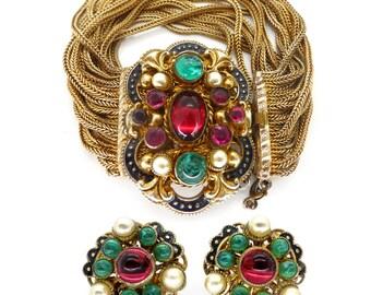 Vintage Art Deco Gilt Czech Austro Hungarian Glass Bracelet & Earring Set