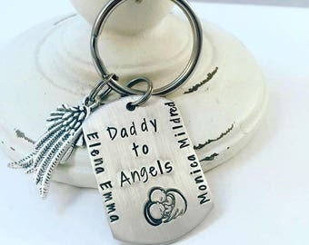 Personalized Dad Keychain Hand Stamped Twin Loss Daddy Keychain - Daddy to Angels - Dog Tag keychain - Twin Angels Loss - Memorial