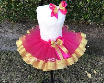 Fuchsia Tulle with  Gold Ribbon Trimmed TuTu ~~~With Free Hair Bow  ~~27 Solid Colors available~~~