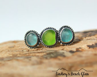 Hawaiian Kauai Tiny Rare Teal & Lime Green Beach Glass Set in Sterling Silver Handcrafted Ring - Size 8.25