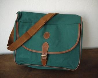 Vintage 90s Polo Ralph Lauren Green Messenger Bag / vintage POLO bag / Polo brief case / Polo laptop case / Polo suitcase / Polo travel bag/