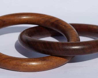 WOOD BANGLES - PAIR of joined wood bangles - handmade vintage wood bangles - the two bangles are linked and cannot be separated