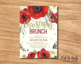 Christmas Brunch Invitation, Bubbly and Brunch Invitation,  Floral Bridal Shower Invitation, Printable Bridesmaids Luncheon