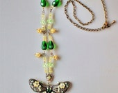 90s Very Pretty Filigree Silver Tone Metal Green Yellow Butterfly Crystal Stones and Glass Bead Necklace Pendant