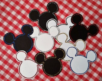 "Mickey Mouse Edged in Glitter ~ 24 Pieces with Hand-Glittered Accent, 2"" x 2.25"", Disney Party, Disney Wedding, Confetti, Photo Prop"
