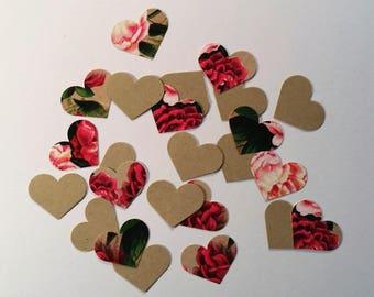 Hearts ~ 1' Rose Print/Kraft Brown Hearts Valentine Confetti Mix, Color on Both Sides, Valentine, Baby Shower, Wedding, Flower Girl Toss