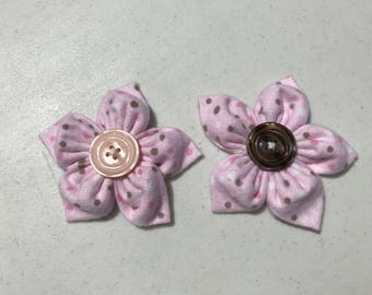 Two-piece Fabric Flower Hair Clips