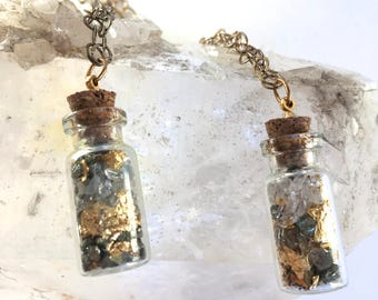 "Crystals, Diamonds, and Gold in miniature Glass Vials- ""Mini Vials""- Crystal Pendant-Crystals necklace- Novelty gift"